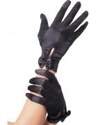 Zwarte handschoenen met strik voor vrouwen