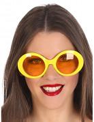 Geel hippie bril voor volwassenen