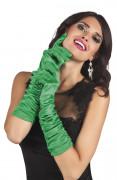 Lange groene satijnen handschoenen voor vrouwen