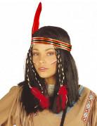 Indianen pruik met hoofdband en veer voor vrouwen