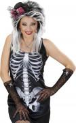 Zwarte kant handschoenen met doodskoppen Halloween