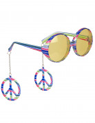 Gekleurde hippie bril voor volwassenen