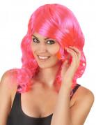 Roze half lange glamour pruik voor vrouwen