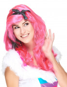 Lange roze glamour pruik voor dames