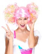 Licht roze pruik met gekleurde krulstaarten