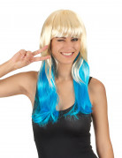 Tie & Dye blond en blauwe pruik voor vrouwen