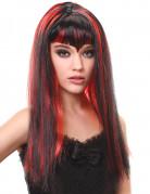 Lange zwart-rode vampier pruik met franje voor dames