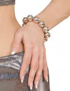 Zilverkleurige kralen disco armband voor vrouwen
