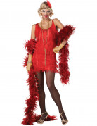Rood en goudkleurig charleston kostuum voor vrouwen
