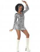 Zilverkleurige disco Diva outfit voor vrouwen
