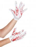 Witte bloederige korte handschoenen voor volwassenen