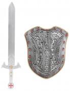 Zilverkleurig ridder zwaard en schild voor kinderen