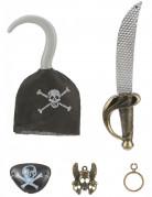 Piratenset - Sabel haak speld ooglapje en een oorbel voor kinderen
