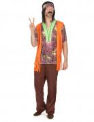 Bruin-oranje hippie kostuum voor heren