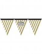 Zwarte en gouden Happy Birthday slinger