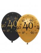 6 zwarte en gouden 40 jaar ballonnen