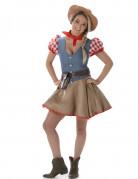 Beige en blauw cowgirl kostuum voor vrouwen