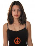 Fluo oranje peace ketting voor volwassenen