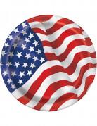 8 kartonnen USA vlag borden 22 cm