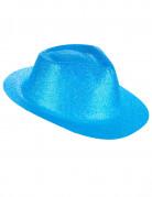 Blauwe glitterhoed voor volwassenen