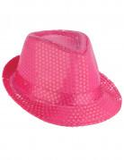 Roze borsalino hoed met lovertjes voor volwassenen