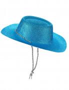 Blauw cowboy hoed met glitters voor volwassenen