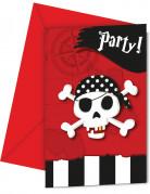 6 schatkaart piraten uitnodigingen en enveloppen