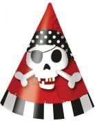 6 kartonnen piraten feesthoeden