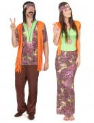 Oranje hippie koppelkostuum