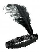 Zwarte charleston hoofdband voor vrouwen