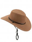 Bruine suède cowboyhoed voor volwassenen