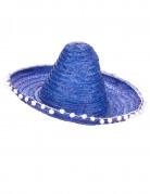 Blauw sombrero hoed met pompons voor volwassenen