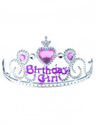 Roze en zilver Birthday Girl diadeem