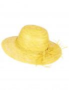 Gele vintage strohoed voor vrouwen