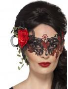 Zwart en rood Día de los Muertos masker