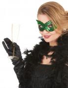 Venetiaans masker met groene lovertjes voor volwassenen