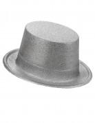 Zilverkleurige glitter hoge hoed voor volwassenen