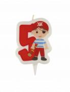 Verjaardagskaars piraat met cijfer 5