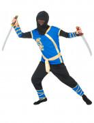 Blauw en goudkleurige ninjakostuum voor jongens