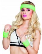 Fluo groene zweetbandjes set voor volwassenen