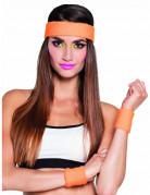 Oranje zweetbanden jaren 80 set voor volwassenen