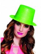 Fluo groene glitter hoed voor volwassenen