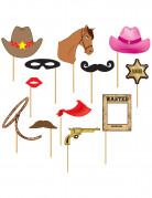 Cowboy photobooth set 12 stuks