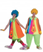 Fluo clown koppelkostuum voor volwassenen