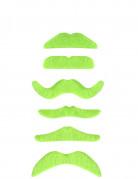 Fluo groene snor voor volwassenen