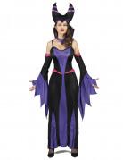Paarse boosaardige heks kostuum voor vrouwen
