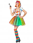 Veelkleurige verf clown kostuum voor vrouwen