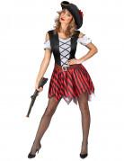 Rood en zwart gestreept piratenkostuum voor vrouwen