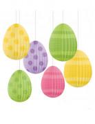 6 gekleurde paaseiren versiering