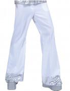Witte disco broek met glitters voor heren